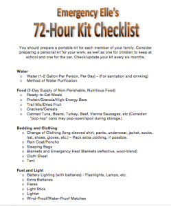 Emergency Elle's 72-Hour Kit Checklist